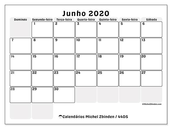 Calendário junho 2020, 44DS. Calendário para imprimir gratuitamente.