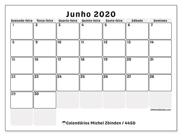 Calendário junho 2020, 44SD. Calendário gratuito para imprimir.