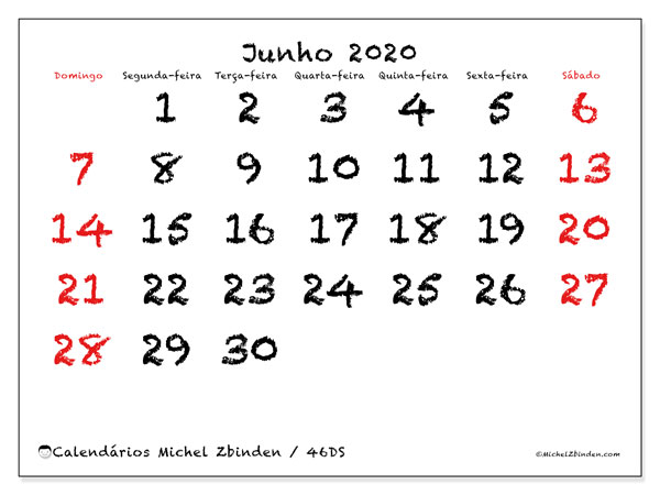 Calendário junho 2020, 46DS. Calendário mensal para imprimir gratuitamente.