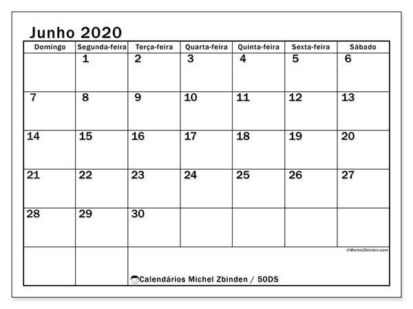 Calendário junho 2020, 50DS. Calendário para imprimir gratuitamente.