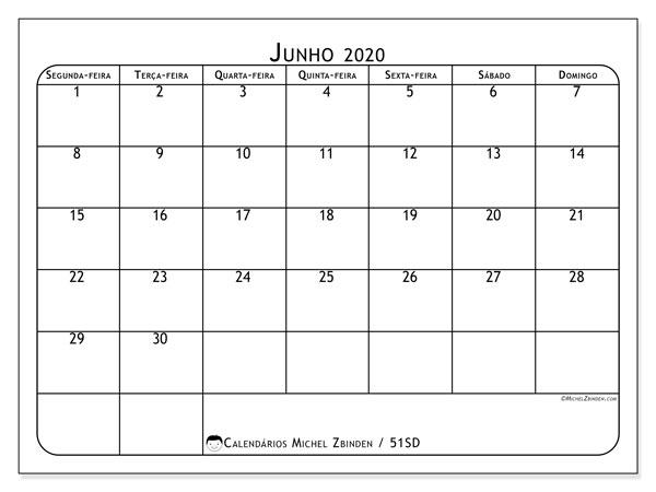 Calendário junho 2020, 51SD. Agenda para imprimir livre.