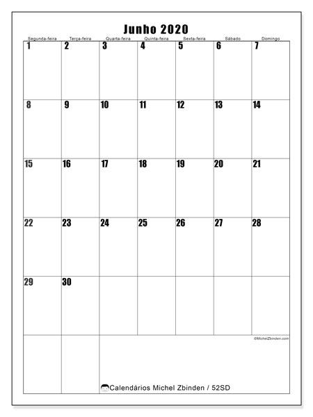 Calendário junho 2020, 52SD. Calendário para o mês para imprimir livre.