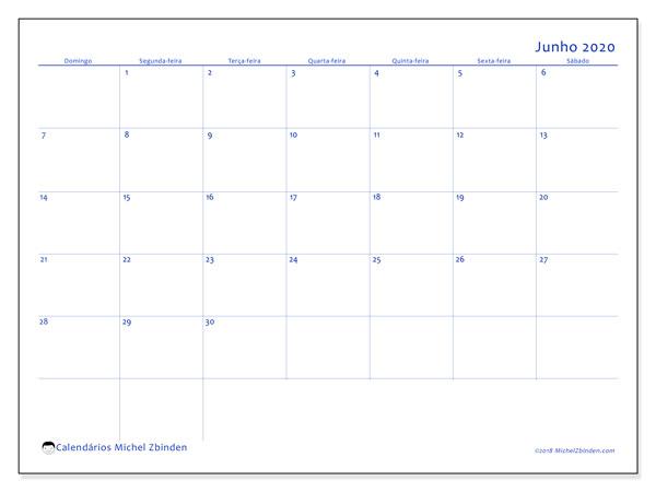 Calendário junho 2020, 55DS. Calendário para imprimir gratuitamente.