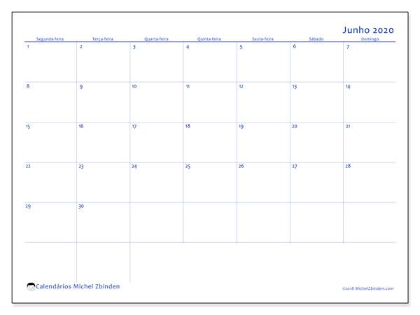 Calendário junho 2020, 55SD. Calendário gratuito para imprimir.