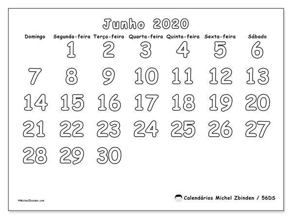Calendário junho 2020, 56DS. Calendário para o mês para imprimir livre.