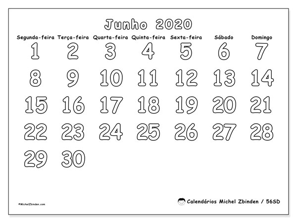 Calendário junho 2020, 56SD. Calendário para imprimir livre.