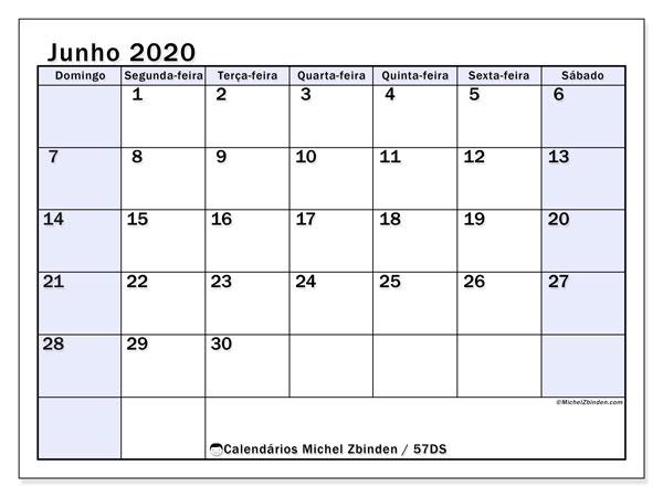 Calendário junho 2020, 57DS. Calendário para imprimir gratuitamente.