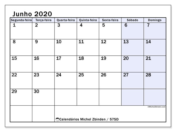 Calendário junho 2020, 57SD. Calendário para imprimir gratuitamente.