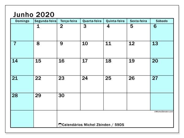Calendário junho 2020, 59DS. Horário para imprimir livre.