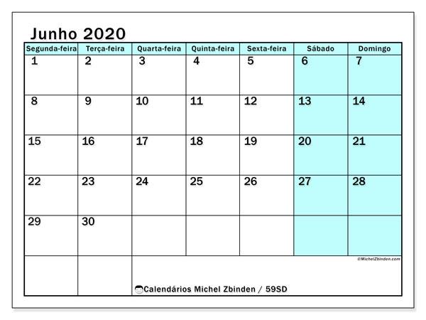 Calendário junho 2020, 59SD. Calendário para imprimir gratuitamente.