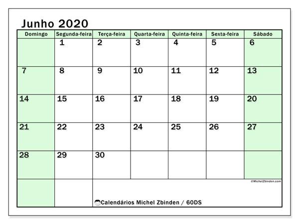 Calendário junho 2020, 60DS. Calendário mensal para imprimir gratuitamente.