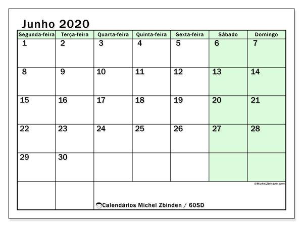 Calendário junho 2020, 60SD. Calendário gratuito para imprimir.