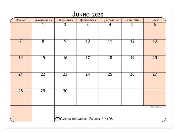 Calendário junho 2020, 61DS. Calendário gratuito para imprimir.