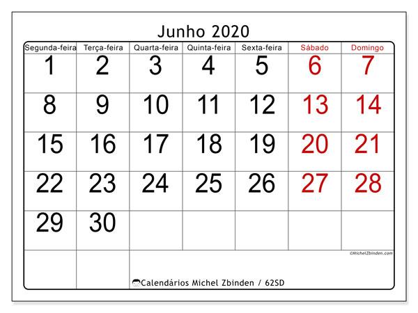 Calendário junho 2020, 62SD. Calendário para imprimir gratuitamente.