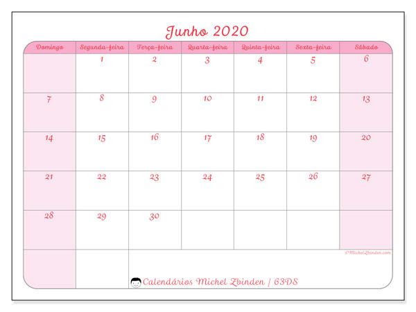 Calendário junho 2020, 63DS. Calendário para imprimir livre.