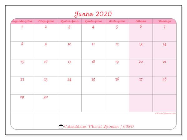 Calendário junho 2020, 63SD. Calendário para imprimir livre.