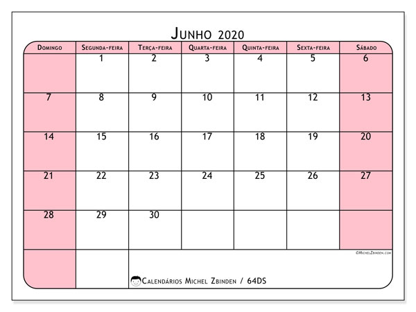Calendário junho 2020, 64DS. Calendário para imprimir livre.