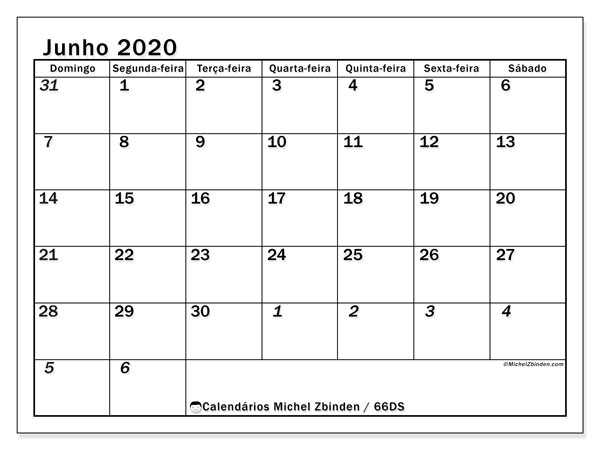 Calendário junho 2020, 66DS. Calendário para imprimir livre.