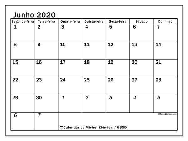 Calendário junho 2020, 66SD. Calendário para imprimir livre.