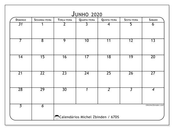 Calendário junho 2020, 67DS. Calendário gratuito para imprimir.