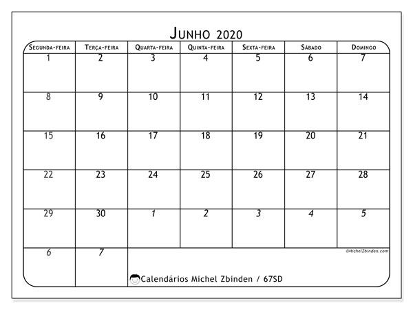 Calendário junho 2020, 67SD. Calendário mensal para imprimir gratuitamente.