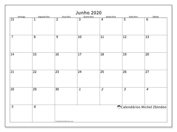 Calendário junho 2020, 70DS. Horário para imprimir livre.