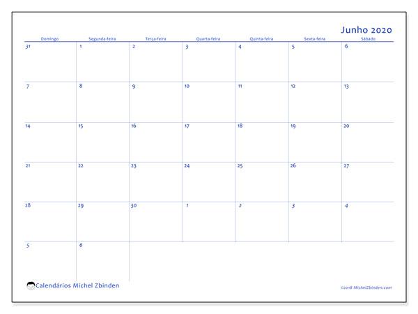 Calendário junho 2020, 73DS. Calendário mensal para imprimir gratuitamente.