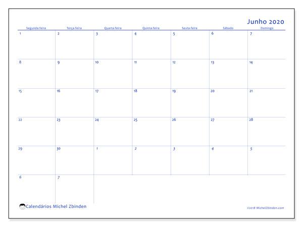 Calendário junho 2020, 73SD. Calendário para imprimir livre.