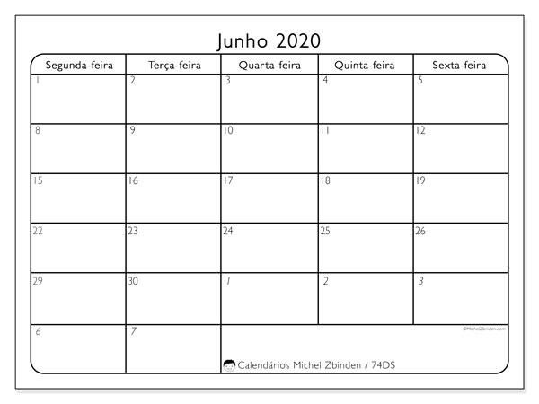 Calendário junho 2020, 74DS. Agenda para imprimir livre.