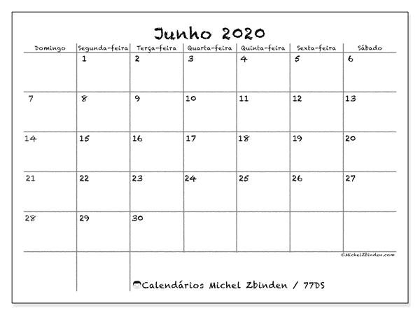 Calendário junho 2020, 77DS. Calendário mensal para imprimir gratuitamente.