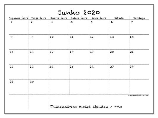 Calendário junho 2020, 77SD. Agenda para imprimir livre.