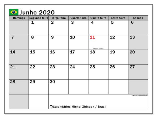 Calendário junho 2020, com as festas do Brasil. Calendário para impressão gratuita com feriados.