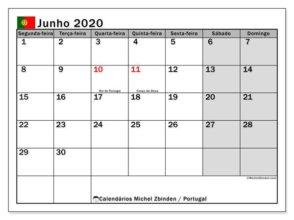 Calendário em junho  de 2020, com feriados públicos em Portugal. Calendário para o mês para imprimir livre.