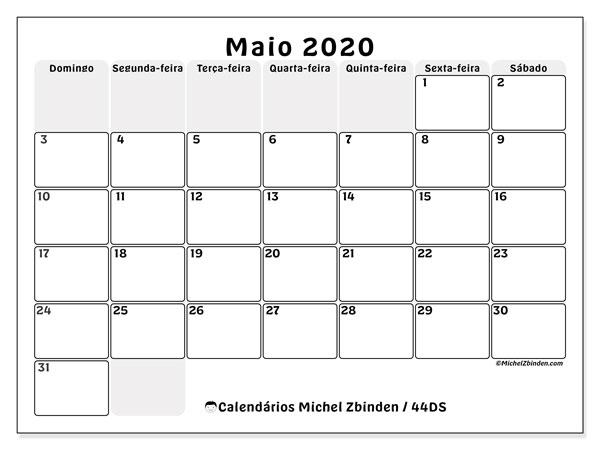 Calendário maio 2020, 44DS. Calendário para imprimir livre.