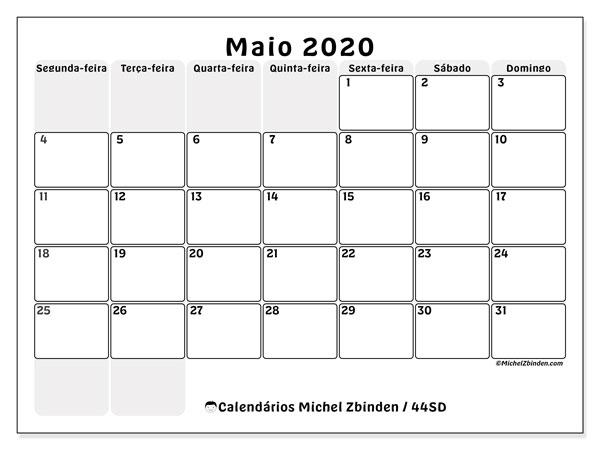 Calendário maio 2020, 44SD. Horário para imprimir livre.