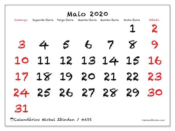 Calendário maio 2020, 46DS. Calendário para o mês para imprimir livre.