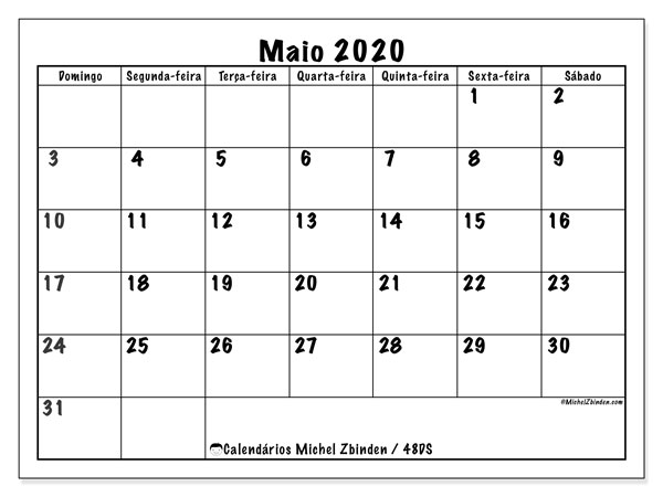 Calendário maio 2020, 48DS. Calendário para imprimir livre.