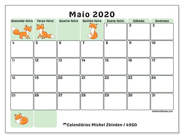Calendário maio 2020, 49SD. Horário para imprimir livre.