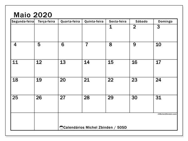 Calendário maio 2020, 50SD. Calendário mensal para imprimir gratuitamente.