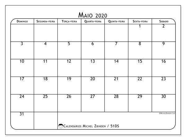 Calendário maio 2020, 51DS. Calendário para o mês para imprimir livre.