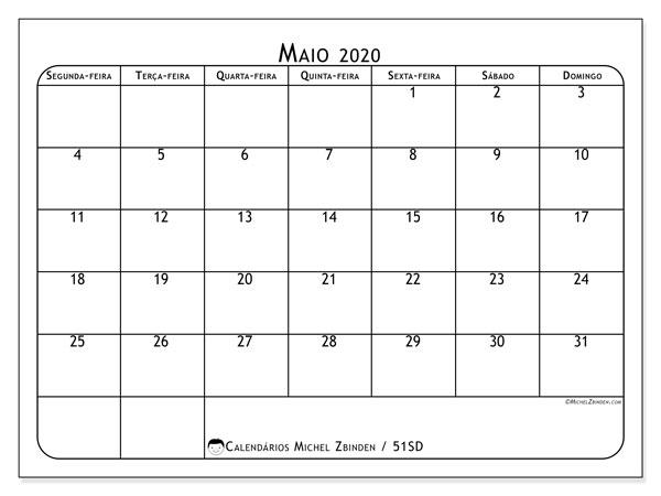 Calendário maio 2020, 51SD. Calendário gratuito para imprimir.