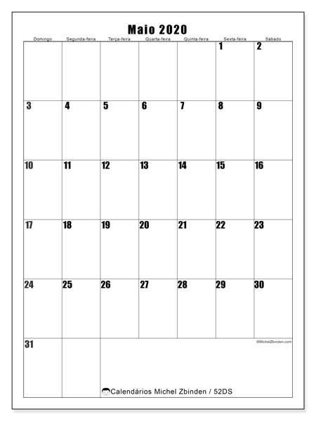 Calendário maio 2020, 52DS. Calendário para imprimir livre.