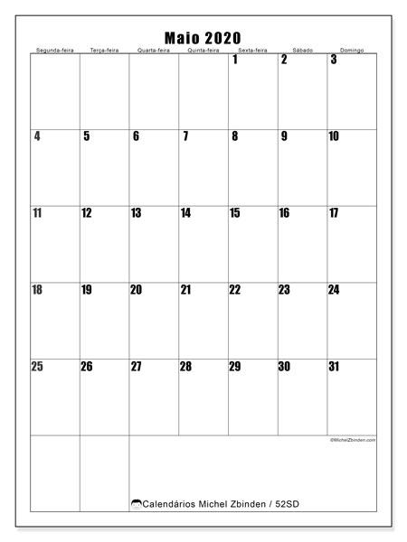 Calendário maio 2020, 52SD. Calendário para imprimir livre.
