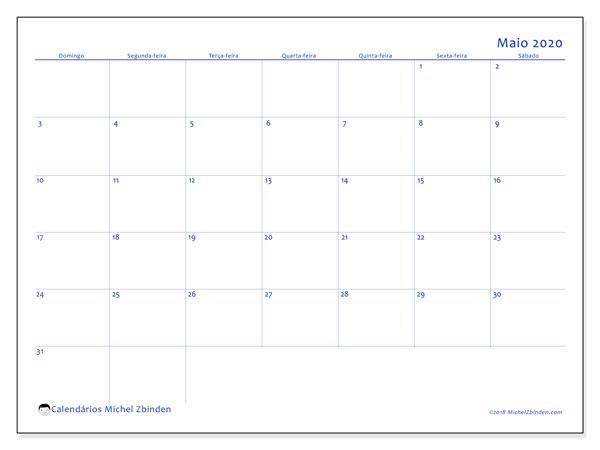 Calendário maio 2020, 55DS. Horário para imprimir livre.