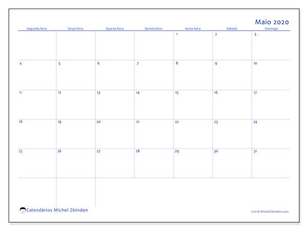 Calendário maio 2020, 55SD. Calendário para imprimir livre.