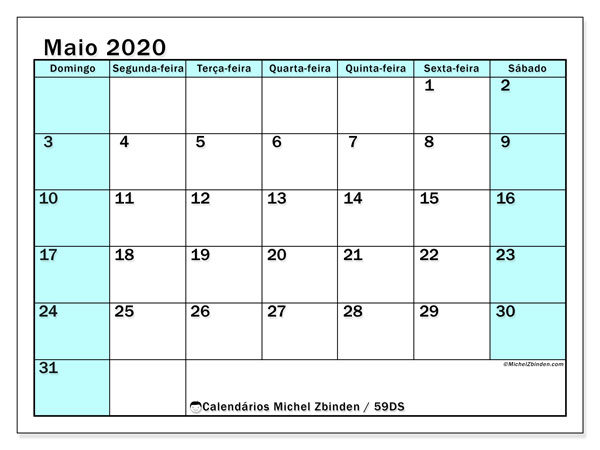 Calendário maio 2020, 59DS. Calendário para imprimir gratuitamente.