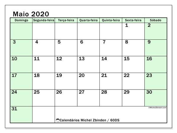 Calendário maio 2020, 60DS. Calendário para imprimir livre.