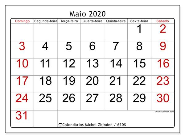 Calendário maio 2020, 62DS. Calendário para imprimir livre.
