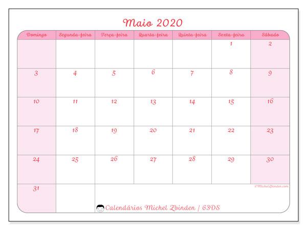 Calendário maio 2020, 63DS. Calendário para imprimir gratuitamente.