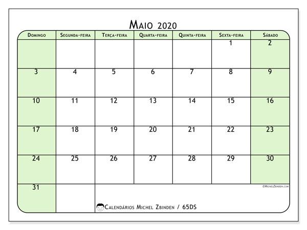 Calendário maio 2020, 65DS. Calendário gratuito para imprimir.